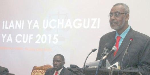 Mgombea urais wa Zanzibar kwa tiketi ya CUF, Maalim Seif Sharif Hamad akizungumza wakati wa uzinduzi wa Ilani ya Uchaguzi ya chama hicho, Zanzibar jana. Picha: Mwananchi