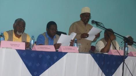Mwenyekiti wa Tume ya Uchaguzi ya Zanzibar Mh. Jecha Salim Jecha akiwasilisha Taarifa kuhusu maandalizi ya uchaguzi Mkuu 2015,
