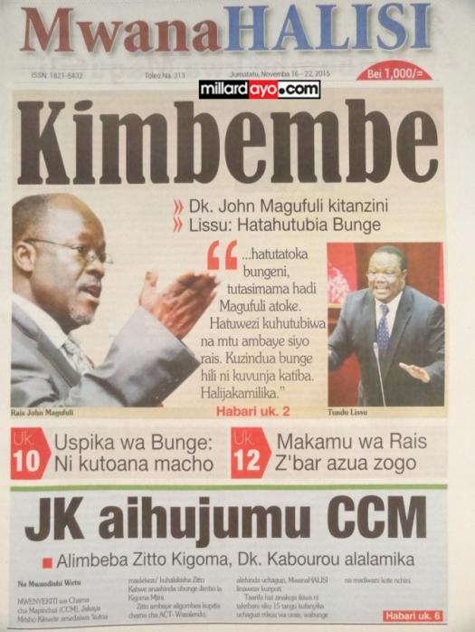 Soma gazeti lako la Mwanahalisi kila Jumatatu